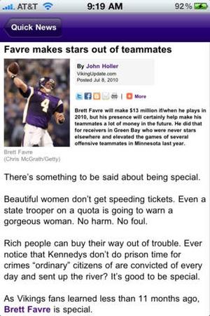 Screenshot Minnesota Vikings 2010 News and Rumors on iPhone