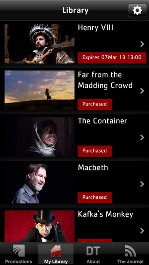 Screenshot Digital Theatre: The best of British theatre available to the world on iPhone