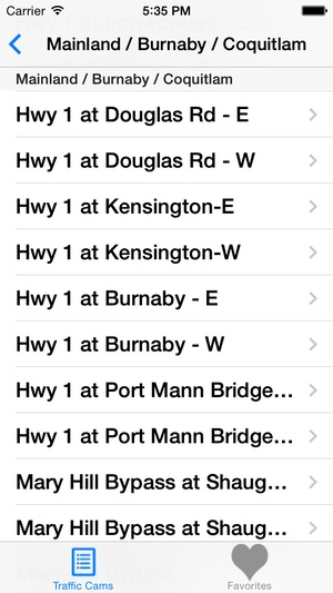 Screenshot Vancouver Traffic Cams on iPhone