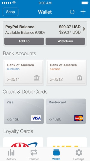 Screenshot PayPal on iPhone