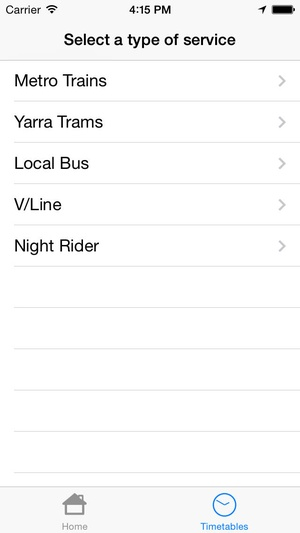 Screenshot MelbournePT on iPhone