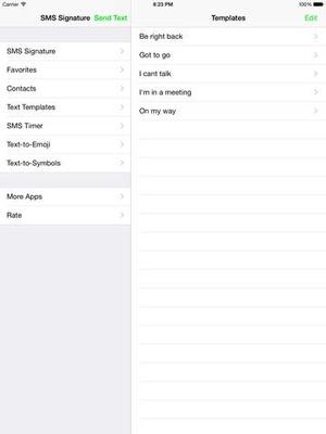 Screenshot SMS Signature on iPad