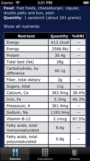 Screenshot Calories Daily, Vitamins and Nutrients on iPhone