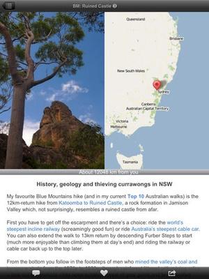 Screenshot Australia Bushwalking on iPad