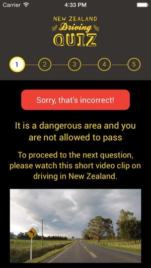 Screenshot NZ Driving Quiz on iPhone