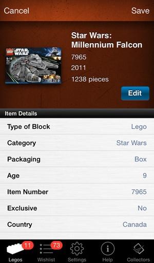 Screenshot LEGO Collectors on iPhone
