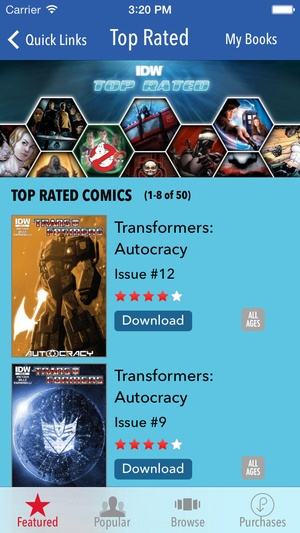 Screenshot Transformers Comics on iPhone