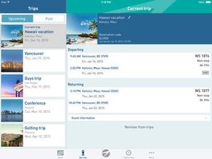 Screenshot WestJet on iPad