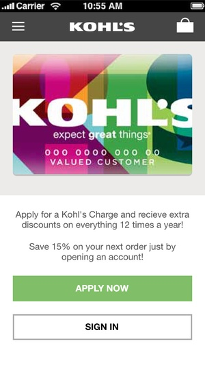 Screenshot Kohl's on iPhone