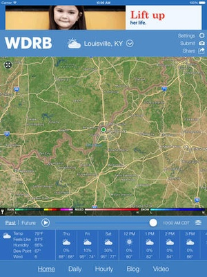 Screenshot WDRB Weather App on iPad