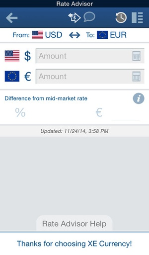 Screenshot XE Currency on iPhone