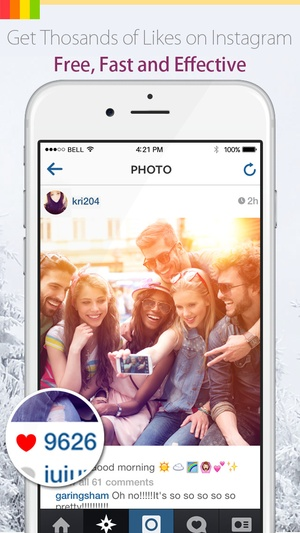 Screenshot Get More Likes for Instagram on iPhone