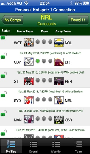 Screenshot iTipFooty on iPhone