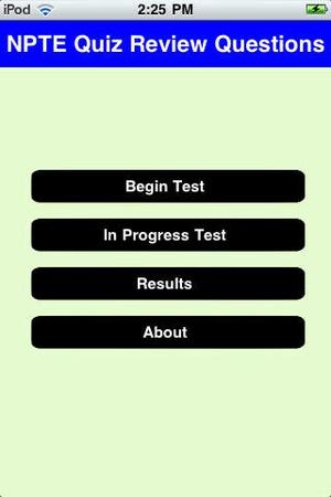 Screenshot NPTE Quiz on iPhone