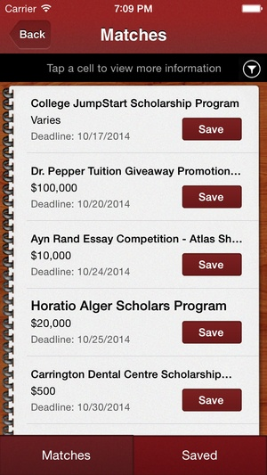 Screenshot Scholly: Scholarship Search on iPhone