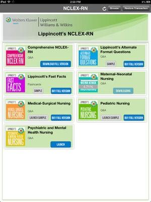 Screenshot Lippincott's Prep for NCLEX on iPad