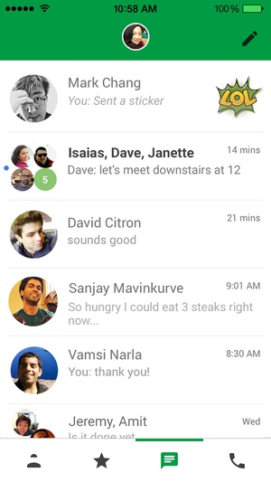 Screenshot Hangouts on iPhone