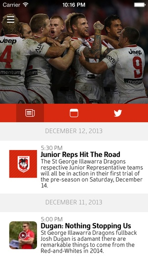 Screenshot Official 2015 St George Illawarra Dragons on iPhone
