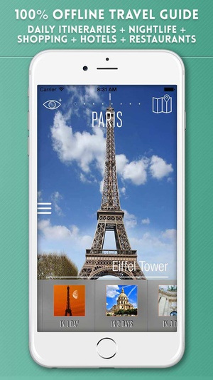 Screenshot Paris Travel Guide with Offline City Street and Metro Maps on iPhone