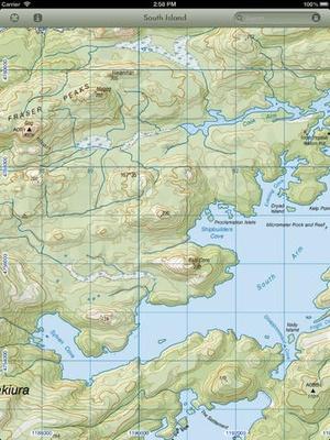 Screenshot MapApp NZ South Island on iPad