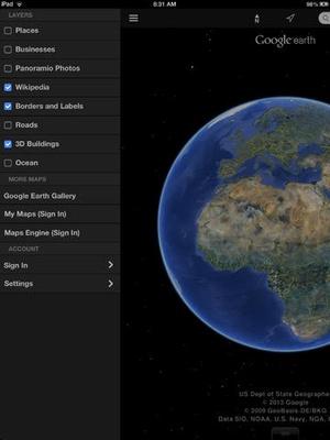 Screenshot Google Earth on iPad