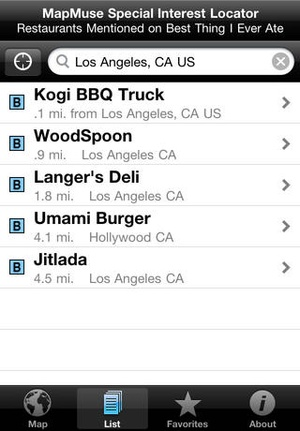 Screenshot Best Thing I Ever Ate Locator by MapMuse on iPhone