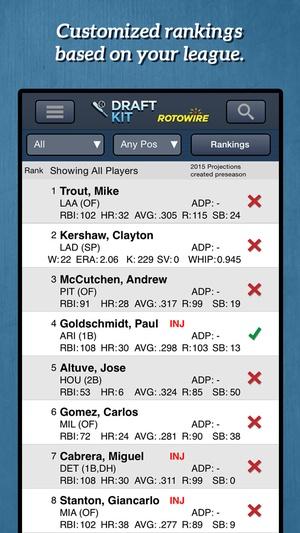 Screenshot RotoWire Fantasy Baseball Draft Kit 2015 on iPhone