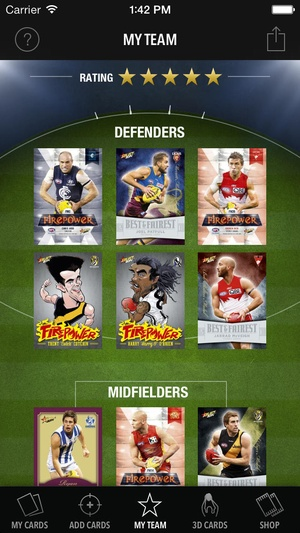 Screenshot 2014 Select Official AFL Collector Cards on iPhone