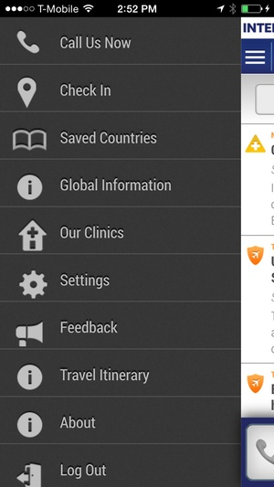 Screenshot International SOS Assistance App on iPhone