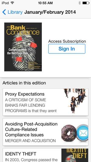 Screenshot ABA Bank Compliance magazine on iPhone