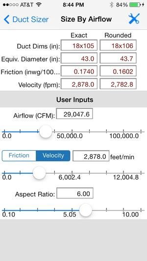 Screenshot HVAC Duct Sizer on iPhone