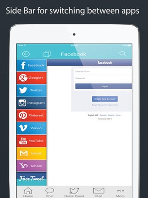 Screenshot My Log In! Social Network Manager for facebook, twitter, google accounts, mail, gmail, yahoo, pinterest, instagram, vimeo, skyp on iPad