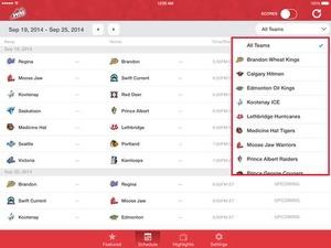 Screenshot WHL Live on iPad