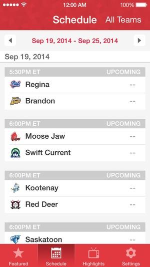 Screenshot WHL Live on iPhone