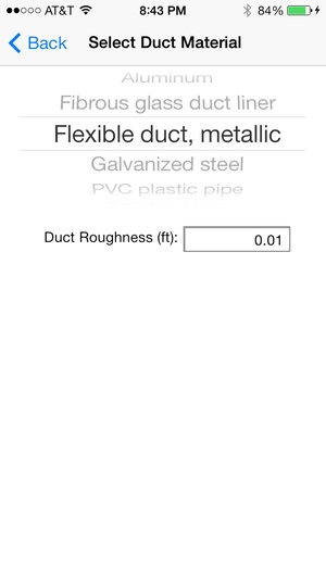 Screenshot HVAC Duct Sizer on iPhone