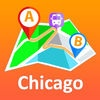 Chicago offline map with public transport route planner for my journey