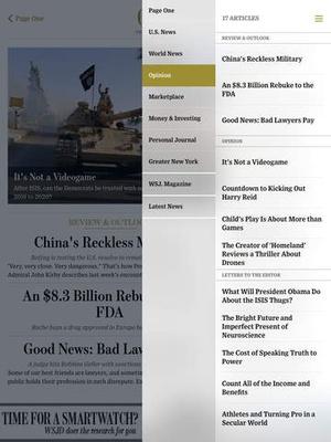 Screenshot The Wall Street Journal. on iPad