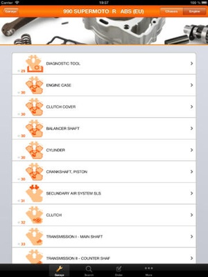 Screenshot KTM Assistant on iPad
