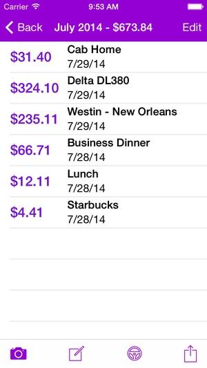 Screenshot Smart Receipts on iPhone