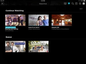 Screenshot HGTV Watch on iPad