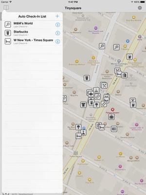 Screenshot Tinysquare for foursquare(swarm) on iPad