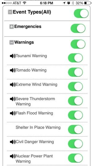 Screenshot NOAA Weather Alerts on iPhone