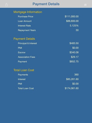 Screenshot Mortgage iCalculator on iPad