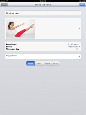 Screenshot Physio2Go on iPad
