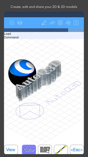 Screenshot AutoQ3D CAD on iPhone