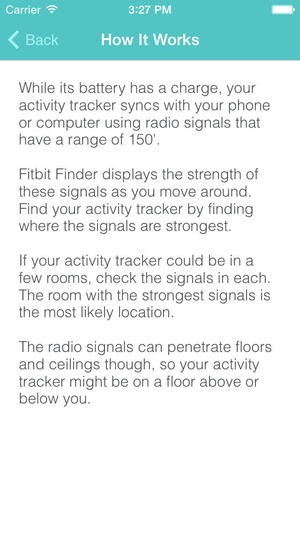 Screenshot Fitbit Finder: lost Fitbits found quickly on iPhone