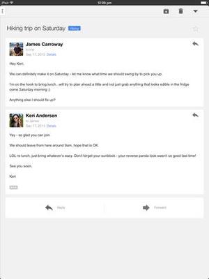 Screenshot Gmail on iPad