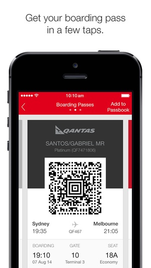 Screenshot Qantas Airways on iPhone