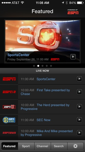Screenshot WatchESPN on iPhone