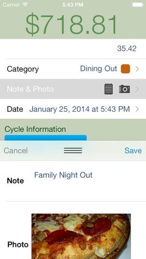 Screenshot Spense on iPhone